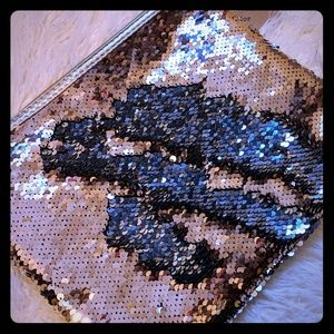 Rose Gold sequin accessory bag